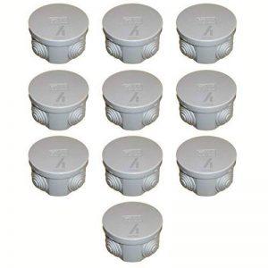10x Gris Boîte de dérivation ronde 65mm connecteur de câble IP44résistant aux éclaboussures, avec œillets en caoutchouc et couvercle à clipser 65x 35 de la marque ESR image 0 produit