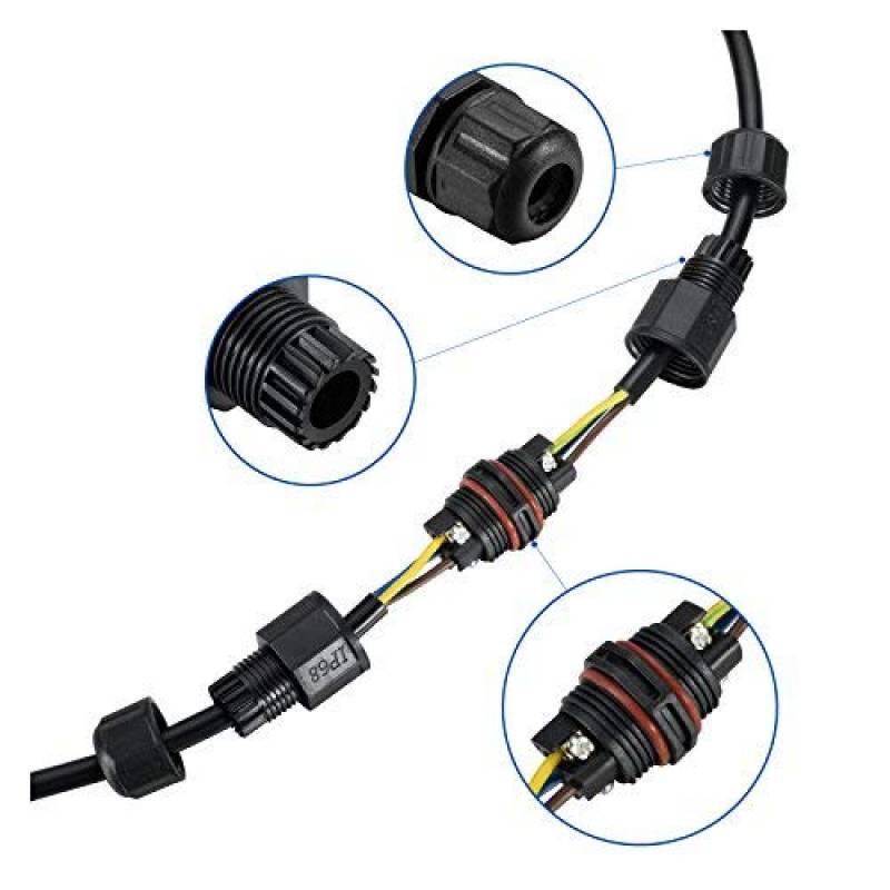 2Pcs étanche IP68 3pôles externes plein air boîte raccordement 4-8mm Gamme câble