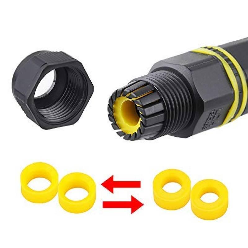 REFURBISHHOUSE 2 paquets Boite de jonction exterieure resistante aux intemperies Coupleur de douille de connecteur de cable Gamme de cables 5-13mm noir, 2 poles, IP68, PVC