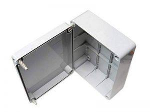 Boîte de dérivation avec couvercle à charnière de porte mm 240 x 190 mm x 90 mm-PVC-Étanche Boîtier IP56 extérieur en plastique adaptable Câble de connexion électriques de la marque ESR image 0 produit
