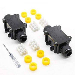 Jirvyuk Boîte de jonction, IP68extérieur étanche en plastique Noir Boîte de jonction électrique avec 2connecteur de câble pour câble de diamètre 4–12mm (lot de 2) de la marque jirvyuk image 0 produit