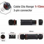 Lot de 3Boîte de jonction, IP68étanche connecteur de câble d'extérieur, résistant aux intempéries 3Core câble électrique Boîte de jonction externe Sleeve Coupler disponibles pour gamme de câble 1Mm-13mm (Noir, PVC) de la marque SRXWO image 1 produit