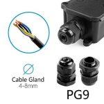MiMoo IP66 extérieur étanche Boîte de jonction avec 2 Câble PG9 Gland connecteur de fil de plastique Boîte de jonction pour câble de diamètre 4-8 mm (lot de 2), Noir de la marque MiMoo image 3 produit